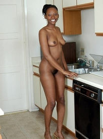 Amateur, young black wife posing..