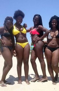 Hot africa girlfriends on the beach