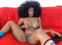 Curly-haired black webcam model..