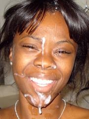 Ebony facial cumshot