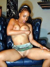 Busty ebony, young wife posing for..